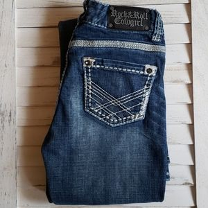 Rock & Roll Cowgirl Mid Rise Classic Faded Jeans